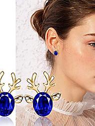 cheap -christmas earrings elk antlers crystal gemstone earrings luxury three dimensional christmas earring gift for women girls (dark blue-gold)