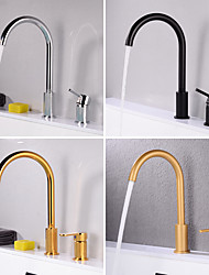 cheap -Bathroom Sink Faucet - Rotatable Electroplated / Painted Finishes Widespread Two Handles One HoleBath Taps