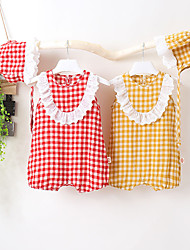 cheap -Baby Girls' Romper Basic Bamboo Fiber Cotton Yellow Red Houndstooth Lace Trims Sleeveless / Summer