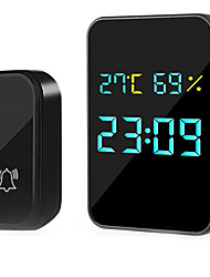 cheap -Digital Smart Wireless Doorbell Chime Ring Home Intelligent Temperature Humidity Time View Self-Powered Door Dell