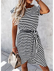cheap -Women's A Line Dress Knee Length Dress khaki Black Sleeveless Stripes Spring Summer Casual 2021 S M L XL 2XL