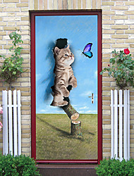 """cheap -2pcs Self-adhesive Creative Play Cat Door Stickers For Living Room Diy Decorative Home Waterproof Wall Stickers 30.3""""x78.7""""(77x200cm), 2 PCS Set"""