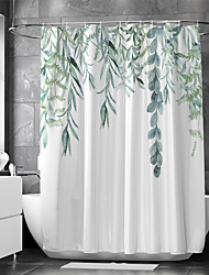 cheap -Shower Curtain With Hooks Suitable For Separate Wet And Dry Zone Divide Bathroom Shower Curtain Waterproof Oil-proof Modern and Floral / Botanicals
