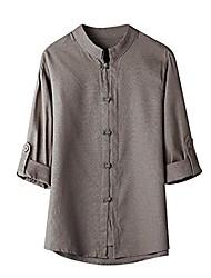 economico -f_gotal camicia da uomo classica in stile cinese kung fu con bottoni, abito con maniche 3/12, camicia casual grigia