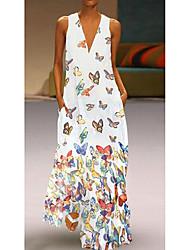 cheap -Women's A Line Dress Maxi long Dress Purple Yellow Blushing Pink White Light Blue Sleeveless Butterfly Animal Print Summer Deep V Hot Casual Beach 2021 S M L XL XXL 3XL 4XL 5XL / Plus Size