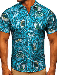 cheap -Men's Shirt 3D Print Graphic Prints Eye Button-Down Short Sleeve Street Tops Casual Fashion Classic Breathable Blue