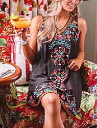 cheap -Women's A Line Dress Knee Length Dress figure 1 figure 2 Sleeveless Pattern Spring Summer Casual / Daily 2021 S M L XL