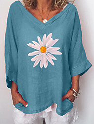 cheap -Women's Plus Size Tops Blouse Floral Graphic 3/4 Length Sleeve V Neck Spring Summer Blue Blushing Pink Gray Big Size L XL 2XL 3XL 4XL
