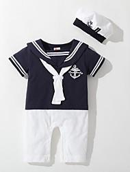 cheap -Baby Boys' Basic Color Block Patchwork Short Sleeves Romper White Navy Blue