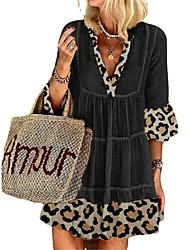 cheap -Women's Loose Short Mini Dress Black Apricot Gray Half Sleeve Casual / Daily 2021 S M L XL XXL XXXL