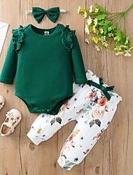 cheap -3 Pieces Baby Girls' Basic Floral Print Long Sleeve Regular Hoodie & Pants Clothing Set Yellow Blushing Pink Green