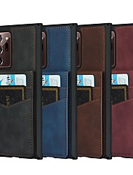 cheap -Phone Case For Samsung Galaxy Back Cover S20 FE 5G Note 20 Ultra S10 S10e Galaxy A71 Galaxy A10s Mi Note 10 Lite Note 20 A51 4G Card Holder Shockproof Dustproof Solid Colored PU Leather Genuine