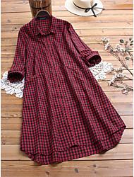cheap -Women's Plus Size Dress Shirt Dress Maxi long Dress Long Sleeve Lattice Shirt Collar Casual Spring Summer L XL 2XL 3XL 4XL