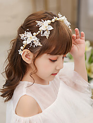 cheap -Kids Baby Girls' Bridal Jewelry Fresh Japanese And Rhinestone Hair Accessories New Braided Pattern Headband Does Not Hurt The Scalp Pearls For Children
