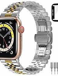 cheap -smartwatch band  for apple watch 6/5/4 / se 44mm bracelet new upgrade galvanize stainless steel metal with double folding clasp for iwatch 6/5/4 / se 44mm-silver & rose gold