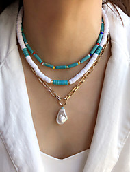 cheap -Women's Choker Necklace Beaded Necklace Handmade Basic Vintage Holiday Boho Pearl Acrylic Stone Picture color White Blue Gold 42 cm Necklace Jewelry 3pcs 1pc For / Crystal Necklace / Charm Necklace