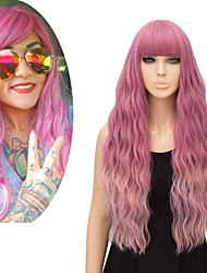 cheap -halloweencostumes FiveFour Women's Black Wig with Wig Cap Wig Heat Resistant Synthetic Hair Wig 27 inches for Cosplay Party