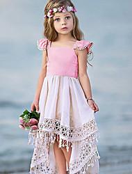cheap -Kids Little Girls' Dress Casual Princess Color Block Tassel Pleated Asymmetric Blushing Pink Vacation Boho Dresses Summer