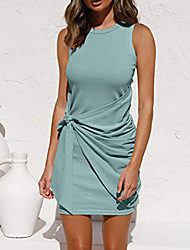cheap -Women's Sheath Dress Short Mini Dress White Black Red Blushing Pink Wine Army Green Khaki Green Navy Blue Beige Sleeveless Solid Color Spring Summer Round Neck Elegant 2021 S M L XL XXL
