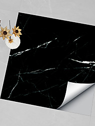 cheap -Hard Piece Marble Tile Stickers Black Gray Granite Wallpaper Self-adhesive Wall Stickers Removable Waterproof Stickers Home Kitchen Bathroom Black Marble Wallpaper 4pcs 30x30cm
