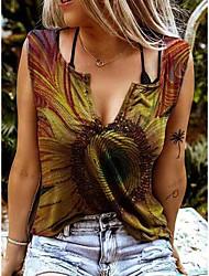 cheap -Women's Tank Top Vest T shirt Color Gradient V Neck Tops Wine