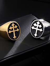 cheap -gold plated ring lorraine cross knights templar crusader crowe pattern stainless steel ring hip hop rock punk jewelry gift for men