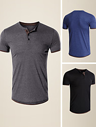 cheap -LITB Basic Men's Short Sleeve T-Shirt Solid Color Casual TopBasic Non-Printing Tee Soft Touch Shirt Daily