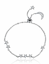 cheap -bijoux blu moon and star genuine 925 sterling silver sweet whisper of moon & star clear cz link bracelet luxury silver jewelry
