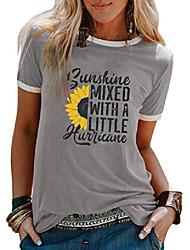 cheap -yourtops sunshine mixed with a little hurricane women graphic t-shirt sunflower shirt (3-grey,xx-large)