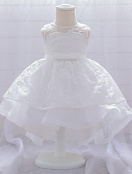 cheap -Baby Girls' Basic Butterfly Solid Colored Beaded Mesh Bow Sleeveless Knee-length Dress White Blushing Pink Wine