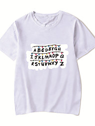 cheap -Men's Unisex Tee T shirt Hot Stamping Anime Graphic Prints Plus Size Stranger Things Print Short Sleeve Casual Tops Cotton Basic Designer Big and Tall Round Neck Blushing Pink White Light gray