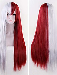 cheap -halloweencostumes missvig red and white cosplay wig long straight silver white and dark red with bangs ombre synthetic wig hair anime costume halloween party hair for movie with free cap