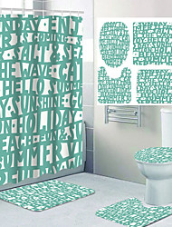 cheap -Artistic Letter Pattern Printing Bathroom Shower Curtain Leisure Toilet Four-piece Design 72 Inch