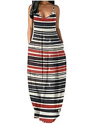 cheap -Women's Strap Dress Maxi long Dress Dot Black and Red Navy Rainbow Stripe Pink purple colourful Blue Purple Yellow Sleeveless Stripes Summer Casual 2021 S M L XL XXL