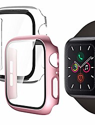 cheap -compatible with apple watch series 6 / se / series 5 / series 4 40mm, hard case with glass screen protector, pc protective frame with glossy surface for iwatch (2 pieces, 1 white + 1 rose gold)