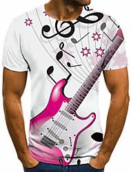 cheap -Men's Unisex Tee T shirt Shirt 3D Print Graphic Prints Guitar Plus Size Print Short Sleeve Casual Tops Basic Fashion Designer Big and Tall Round Neck White