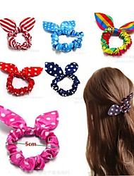 cheap -Kids Baby Girls' Version Of Multicolor Bunny Ears Hair Accessories High-Strength Elastic Wave Point Hair Ring Cute Bow Headdress Wholesale Direct Sales