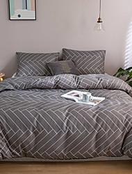 cheap -Duvet Cover Sets 3 Piece Rayon / Polyester Floral / Botanical Plaid Rainbow Reactive Print Bohemian Style