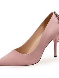 cheap -Women's Heels Stiletto Heel Pointed Toe Wedding Pumps Satin Rhinestone Solid Colored Almond Black Red