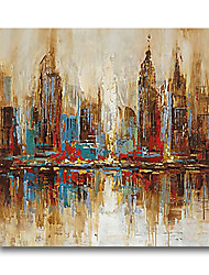 cheap -Oil Painting Handmade Hand Painted Wall Art Cityscape Building River Home Decoration Dcor Stretched Frame Ready to Hang