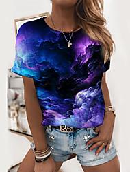 cheap -Women's Abstract Geometric Painting T shirt Galaxy Graphic Print Round Neck Basic Tops Purple