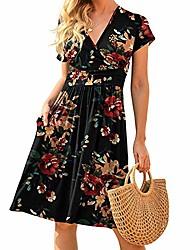 cheap -grefer women summer casual short sleeve v-neck short party dress with pockets elegant beach long dress maxi dress