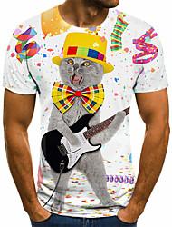 cheap -Men's Unisex Tee T shirt 3D Print Graphic Prints Guitar Plus Size Print Short Sleeve Casual Tops Basic Fashion Designer Big and Tall White