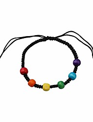 cheap -ujims lgbt lgbt pride gifts gay flag rainbow double rings pendant necklace lesbian rings with rainbow charm jewelry transgender pride gift (rainbow pride adjustable bracelet)