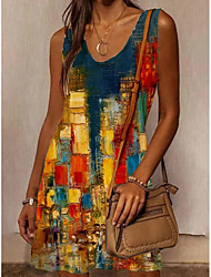 cheap -Women's T Shirt Dress Tee Dress Knee Length Dress Yellow Sleeveless Abstract Oil Painting Print Spring Summer Round Neck Ethnic Style Active Vintage Holiday 2021 S M L XL XXL XXXL