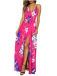 cheap -Women's Strap Dress Maxi long Dress Blue Fuchsia Royal Blue Red Light Blue Sleeveless Floral Print Print Summer V Neck Casual Holiday 2021 S M L XL XXL