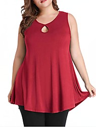 cheap -Women's Plus Size Tops Tank Top Plain Sleeveless Round Neck Spring Summer Purple Red Wine Black Big Size XL XXL XXXL 4XL 5XL
