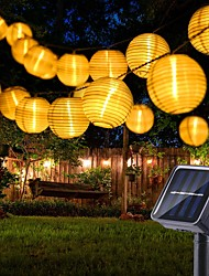 cheap -Outdoor Solar String Lights Lantern Garden Lights 10 20 Leds White Nylon Mini Hanging Lanterns with Warm White Bulbs Included Waterproof for Outdoor Garden Party Patio Backyard Window Decoration