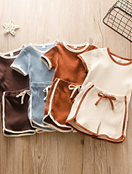 cheap -Baby Boys' Basic Solid Colored Patchwork Short Sleeve Regular Clothing Set Khaki Brown Beige