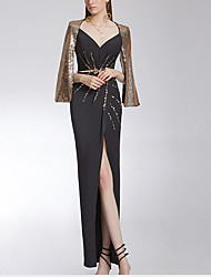 cheap -Sheath / Column Glittering Sexy Engagement Formal Evening Dress V Neck Sleeveless Floor Length Sequined Stretch Fabric with Beading Sequin Split 2021